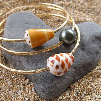 1Tahitian Pearl Bangle, 2 Hawaiian Shell Bangles,  Thick Gold Hammered Bracelet, Hawaii Beach Jewelry, Thick 12 Gauge, Made for You