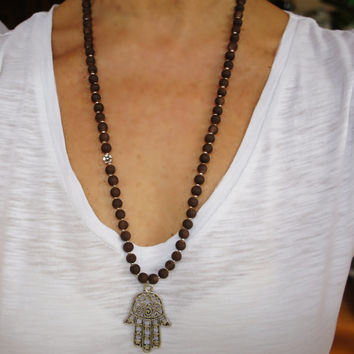 Hamsa Necklace, Matte Brown Long Hamsa Necklace, Ottoman Jewelry