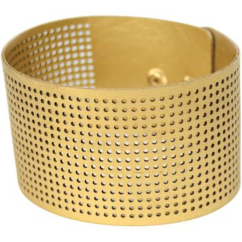 "Faux Leather Bracelet Punched For Cross Stitch-8""X1.5"" Gold"