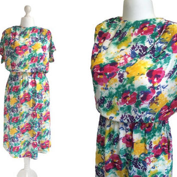1980's Floral Vintage Dress - 80's Dress - Floral Watercolour Print Dress