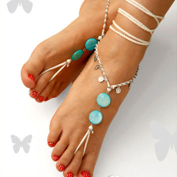 Barefoot Sandals. Something Blue. Turquoise Mother Of Pearl