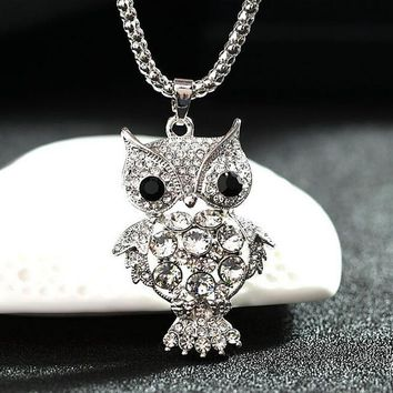 Lovely Little Owl Necklace Pendants Silver Rhinestone Necklace Women Long Chain Necklaces Cute Bear Girl Jewelry Gifts