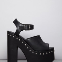 Faux Leather Peep-Toe Platform Clogs