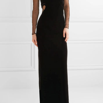 TOM FORD - Convertible cutout velvet and tulle gown