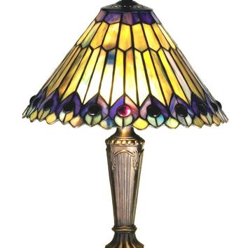 "17""H Tiffany Jeweled Peacock Accent Lamp"