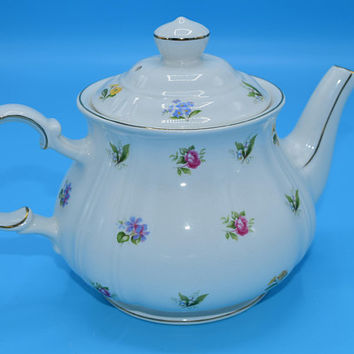 Sadler Multicolor Flower Tea Pot Vintage Bone China England Floral Teapot Numbered 3914 Gift for Tea Lover Gift for Her Mothers Day Gift