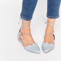 ASOS | ASOS LORDSHIP Lace Up Pointed Ballet Flats at ASOS