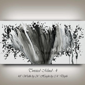 Watercolor Painting on Canvas, Black and White Wall Art Home Decor Bedroom Water Splash Drip Artwork, Large Abstract Art by Nandita Albright
