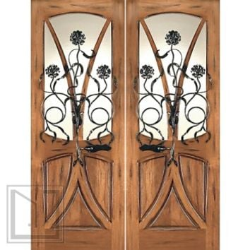 AN-2004-2 Mahogany Tree Lite Hand Carved Art Nouveau Double Door Forged Iron