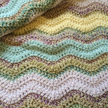Beautiful Chevron Afghan - Baby Blanket - Ripple Stitch Baby Bedding - Ready to Ship