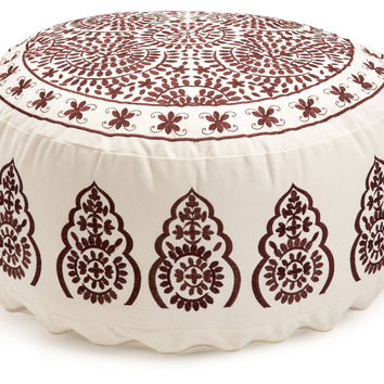 Ella Large Embroidered Pouf, Ivory, Poufs