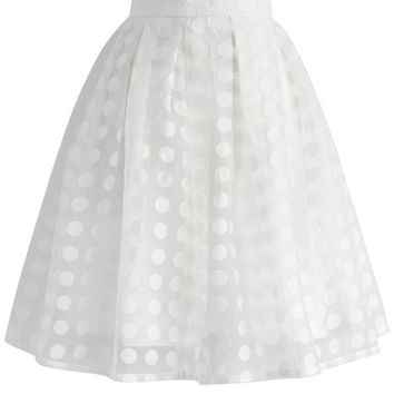 Polka Beauty Organza Skirt in White