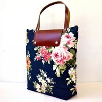 piiqshop - Market Place - Navy Canvas Flowers Printed - Rusty Leather Cover and Straps - Daily, Weekly, School Bag, Diaper Bag, Book or Magazine Tote Bag
