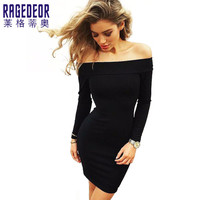 Autumn and winter Long Sleeve Dresses Sexy Off Shoulder Bodycon Party Dresses Women Dress Robe Vestidos