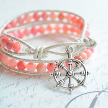 Leather wrap bracelet  Pink coral shore beads by littlejarofhearts
