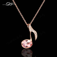 Simple Music Note Vintage Necklaces & Pendants 18K Rose Gold Plated Imitation Gemstone Crystal Party Jewelry For Women DFN110