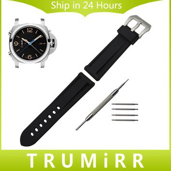 24mm Silicone Rubber Watchband 1:1 as Original for Panerai PAM Watch Band Wrist Strap with Brush 316L Stainless Steel Buckle