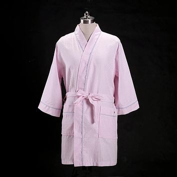 Summer thin waffle Cotton Couples mens bathrobes Solid color unisex quality simple lovers SPA kimono robes peignoir homme 2018