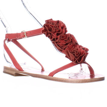 Kate Spade Caryl Rose Flower T-Strap Flat Sandals, Maraschino Red, 6 US