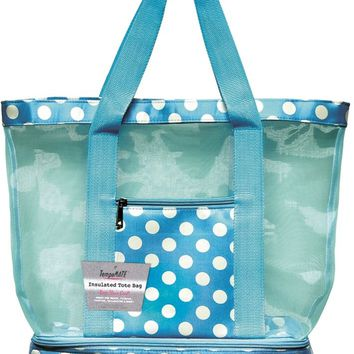 TempaMATE? Insulated Tote Bag - Blue-White - CASE OF 10