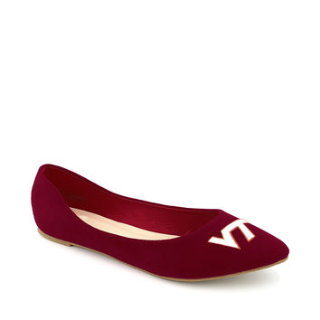 Virginia Tech Hokies Pointed Toe Suede Ballet Flats