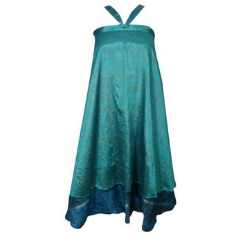 Mogul Indian Blue Silk Sari Wrap Around Skirt Two Layer Reversible Printed Beach Cover Up Magic Skirts - Walmart.com