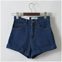 Women New Arrival Denim Shorts Vintage High Waist Cuff Jeans Shorts Girls'Street Wear Sexy Shorts