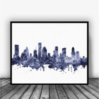 Houston Texas Skyline Black Art Print Poster