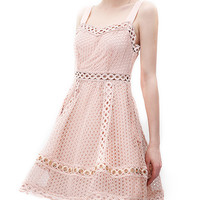 Pink Sweetheart Cutwork Lace Skater Dress
