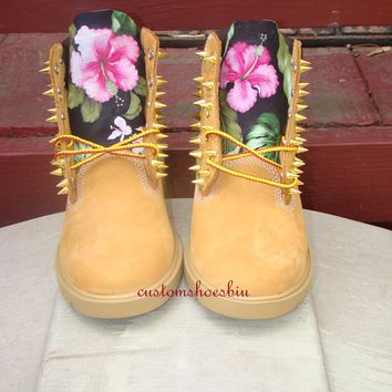 Custom Spiked Timberland Black Tropical Hawaii Print