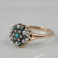 Victorian 10K Rose Gold, Pearl and Turquoise Ring, RGPL122P