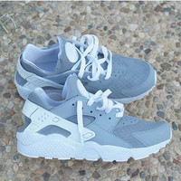 Grey Nike Huarache Run Triple White Custom