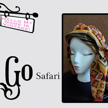 Safari Head Scarf- Large Square Scarf- Vintage Fashion- Bandana Scarf- Orange Geometric Patterns- Gift for Woman- Vintage Floral Table Cloth