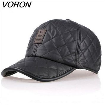 VORON High quality baseball cap men autumn winter Fashion Caps waterproof fabric Hats Thick warm earmuffs baseball cap 4 colors