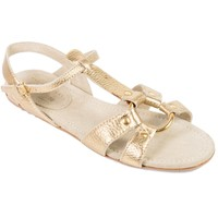 Prada Car Shoe Womens Metallic Gold Leather Caged Sandal