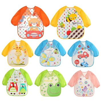 Cute Cartoon animals Baby Bibs Long Sleeve Apron Smock Soft Feeding Waterproof Colorful children Bib Burp Clothes