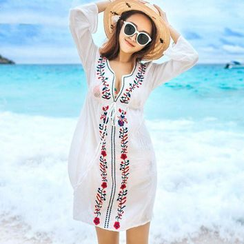 DCCKLW8 NIUMO NEW Beach Sports Swim Female Cover Ups Coat Bikini Blouse Outside the Ride Clothes Long Section Embroidered Beach Clothes