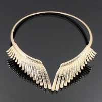 "10"" gold metallic wings choker collar necklace"