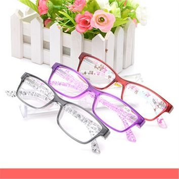 Fashion Colors Reading Glasses Unbreakable Flower Temple Glasses women Men Brand Design Anti-fatigue Resin Lens Reading Glasses