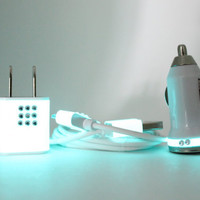 READY TO SHIP Teal Glow in the Dark charger trim on white iphone charger set with rhinestones