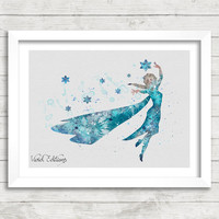 Frozen Princess Elsa Watercolor Art Poster Print, Wall Art, Home Decor, Girl's Gift, Not Framed, Buy 2 Get 1 Free! [No. 46]