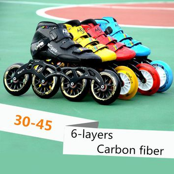 6-layers Carbon Fiber Professional Inline Speed Skates Shoes for Indoor Track Street Racing Super Light 30-45 Adults Kids Roller