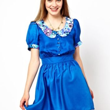 Lowie Silk Skater Dress with 70s Floral Collar - Cobalt blue