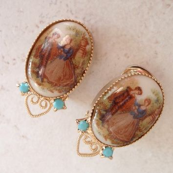 Courting Couple Earrings Clip On Turquoise Rhinestones Fragonard Vintage