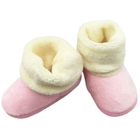 Kids Baby Girls Solid Faux Fleece First Walkers Cotton Mixed Colors Non-Slip Snow Boots