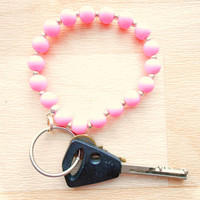 Pink Beaded Keychain - Rubber Bead Bracelet - Sports Bracelet - Running Accessories
