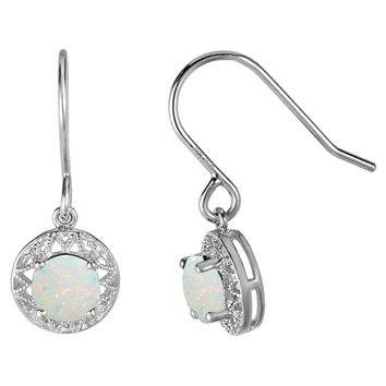 .50 Ct Round White Simulated Opal Birthstone Earrings in 925 Sterling Silver