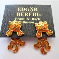 Orange Tabby Cat Dangle Earrings Edgar Berebi Articulated  NOS Signed Vintage Jewelry Gift for Her