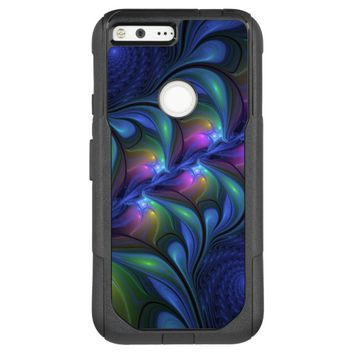 Colorful Luminous Abstract Blue Pink Green Fractal OtterBox Commuter Google Pixel XL Case