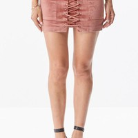 Mauve Suede Lace up Skirt BACK ORDER